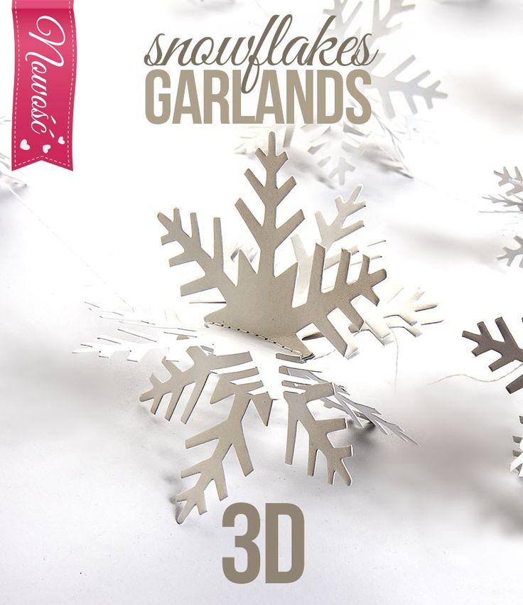 Girlandy papierowe - płatki śniegu
