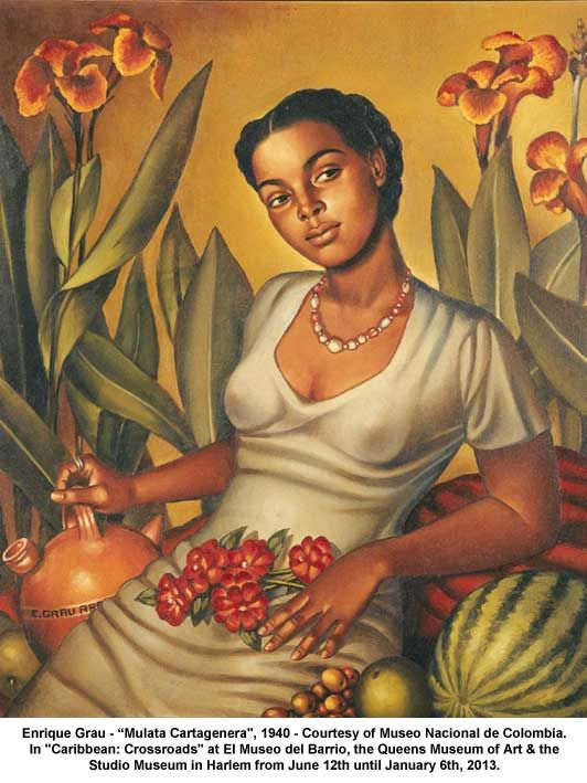 """Artwork: Enrique Grau Mulata Cartagenera"""", 1940 - Courtesy of Museo Nacional de Colombia. In """"Caribbean: Crossroads"""" at El Museo del Barrio, the Queens Museum of Art & the Studio Museum in Harlem from June 12th until January 6th, 2013. - this piece is on view at El Museo del Barrio"""