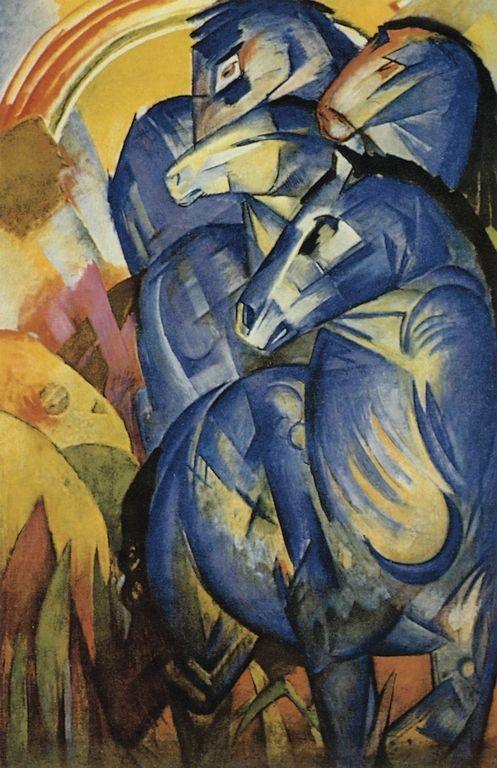 Tower of Blue Horses (lost) - Franz Marc, 1913  Art Experience NYC: www.artexperiencenyc.com