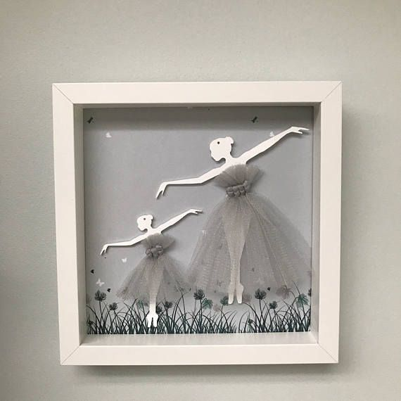 Unique hand crafted 3D ballerina picture, perfect for newborn gift or baby shower gift Supplied framed and ready to hang. it is approx 20cm x 20cm