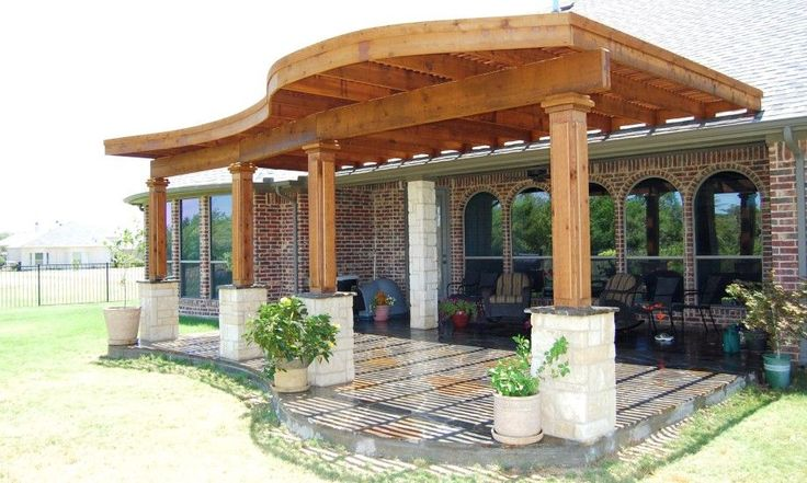 by Custom Patio Designs - Radius Edge Shade Structures, stone columns with wood