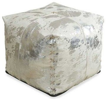 Interlude Home Aldo Metallic Hide Pouf - farmhouse - Ottomans And Cubes - Carolina Rustica