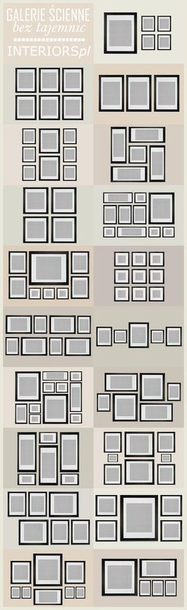 Wall collage ideas for multiple photo groups - squares and rectangles and mixed sizes.