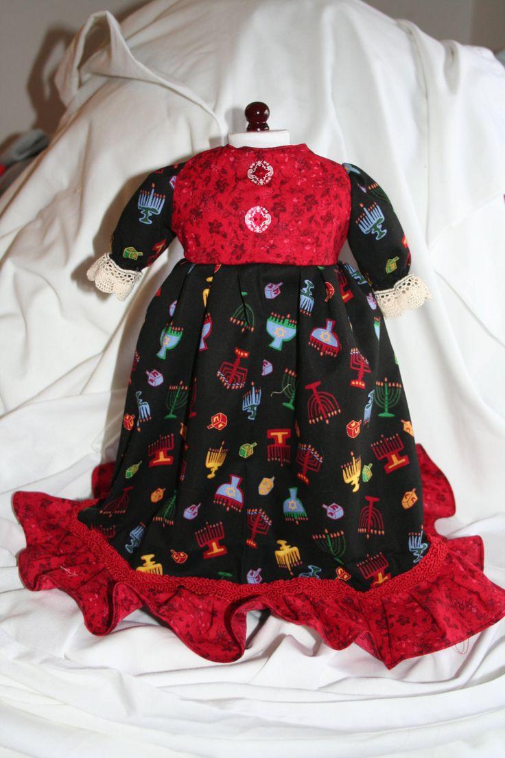 American Girl doll clothes 18 in doll dress Hanukkah dress menorah print black red long dress by hudathotjewelry on Etsy SOLD