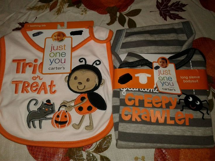 Up for sale is one teething bib that says trick or treat on it. Also a size 3M long sleeve bodysuit that says Grandma's creepy crawler. The teething baby has one size bodysuit is for 3 month old children. Both are brand-new unused in the original condition from when it was purchased at the store. Both are from Carter's... Happy Halloween!!! Message me with any questions. Usually ship within 1 business day! Thanks for looking!!!