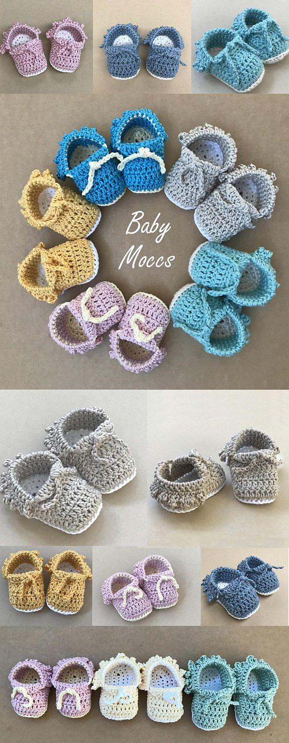Crochet Baby Moccs Pattern by Deborah O'Leary Patterns #crochet #booties