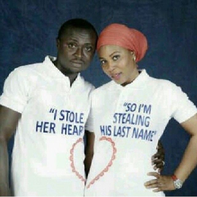 Aww cute couple shirt idea.Follow @ChiefWedsLolo.com - Nigerian Wedding Planning Blog (Traditional and Church/Mosque) for more cute love quotes! Photo from @funny_african_pics's photo on instagram. #bellanaijaweddings #weddingdigestnaija #nigerianweddings
