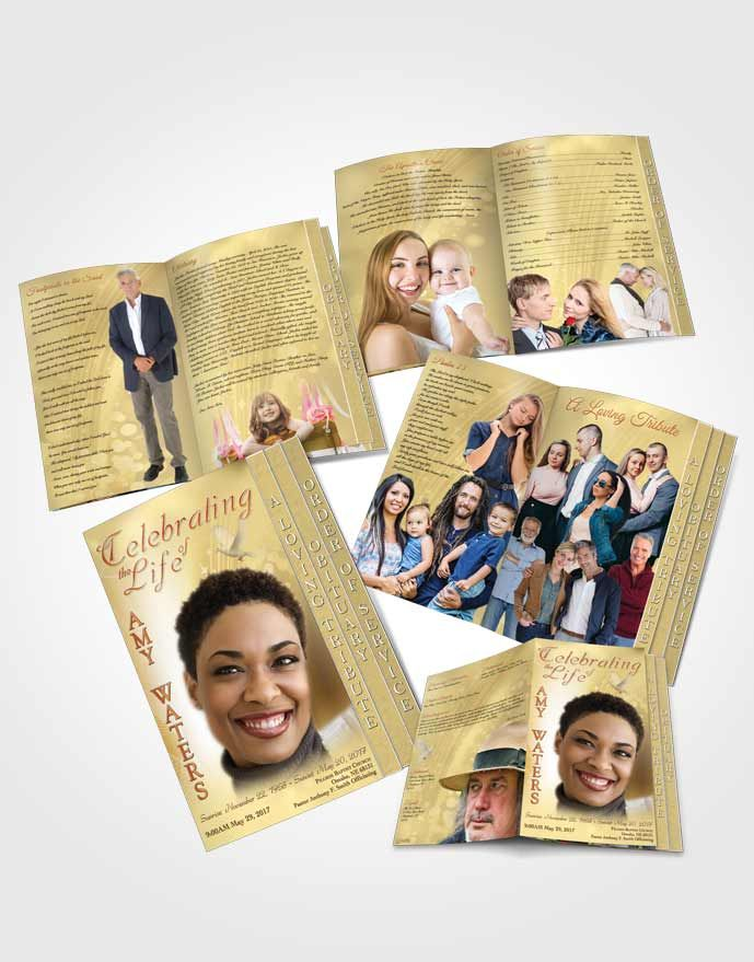 4 Page Grad Fold Obituary Template Brochure Free Spirit Gold Love