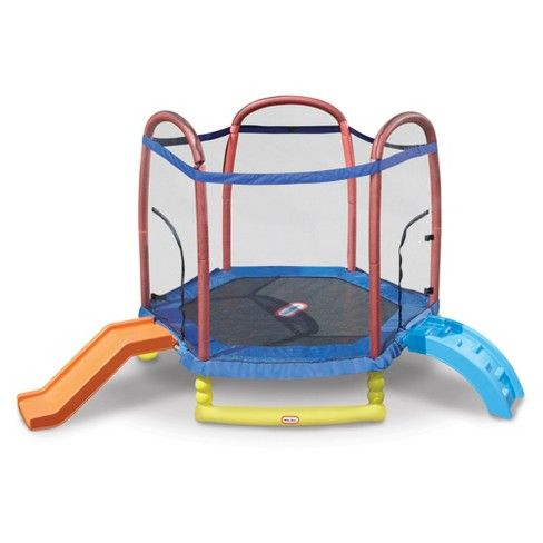 The Little Tikes Climb 'n Slide 7ft Trampoline combines the play of climbing, sliding, and jumping into one great item. Kids can scramble up the climber, jump on the trampoline, and then exit by sliding down the slide! Accessories include two zipper enclosures for safe play, durable, high-quality pad protector covers the safety springs, safety foam covers all exposed metal, frame made of durable blow-molded plastic and shoe holder.