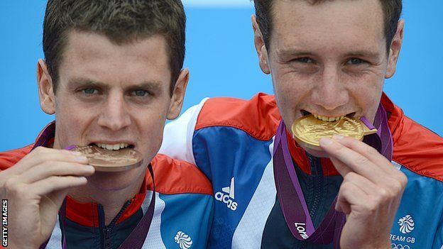 Alistair Brownlee, Jonny Brownlee Gold & Bronze respectively for Team GB