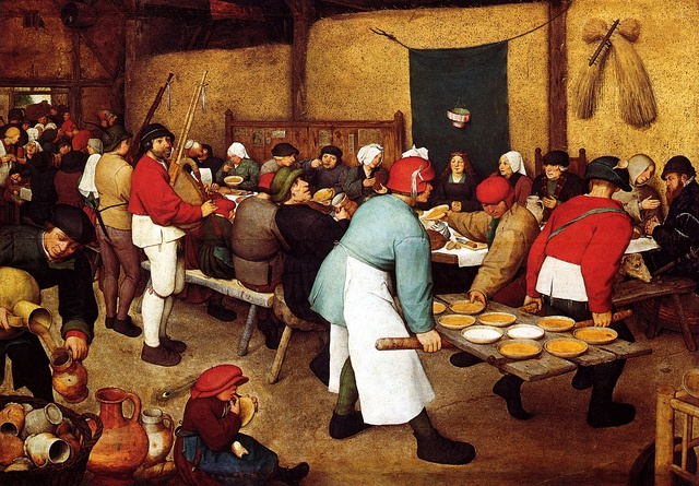 Pieter Bruegel the elder,The Peasant Wedding Banquet,1568, Vienna Celebration of a female loss