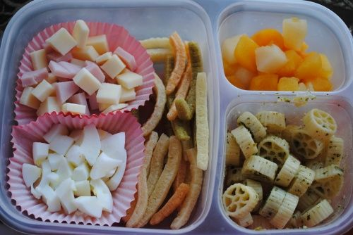 Meat and cheese, fruit, pasta in pesto, egg whites, and crunchy veggie sticks