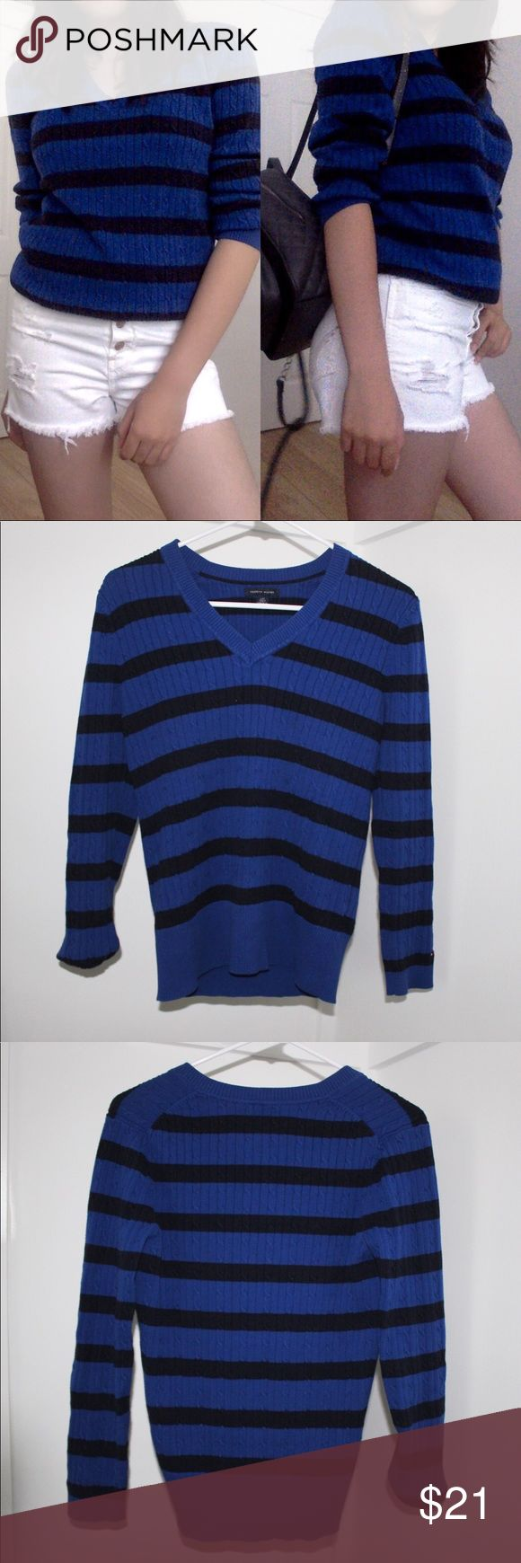 Tommy Hilfiger Black and Blue Stripped Sweater This gently used Tommy Hilfiger dark blue and black knit sweater has no signs of wear. If styled properly, a ❗️SIZE SMALL❗️can wear this as an Oversized sweater - depicted in cover photo -. Create a bundle with 2️⃣ or more items and get a 10% OFF purchase. Tommy Hilfiger Sweaters V-Necks