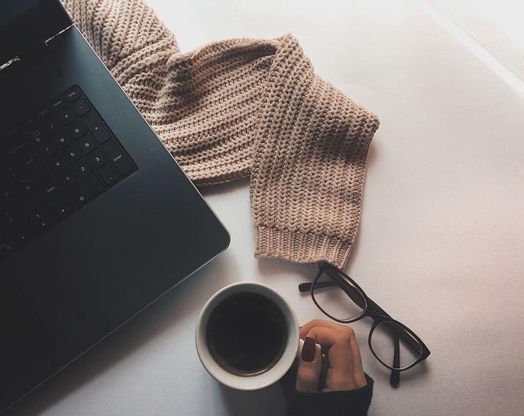 Fall sweater coffee morning work glasses laptop cozy instagram ideas