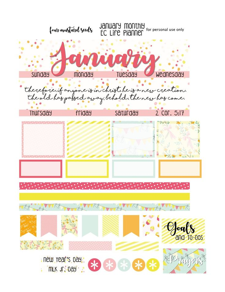 Free January Erin Condren Planner Stickers – four mustard seeds