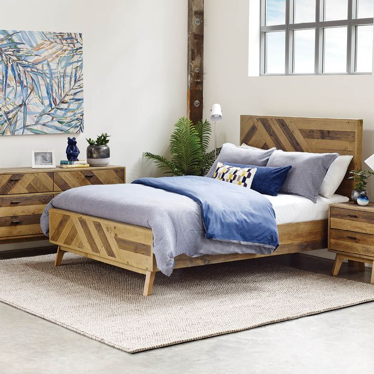 SAWYER BED -THOMPSON PINE  Crafted from reclaimed pine the Sawyer Bedroom Collection balances Mid-Century styling with a natural aesthetic.
