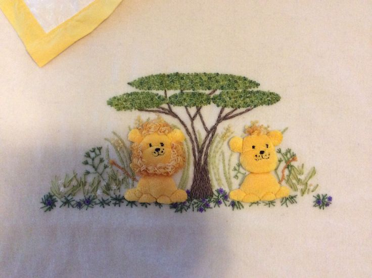 Embroidered cot blanket. Made by Gai Strakosch