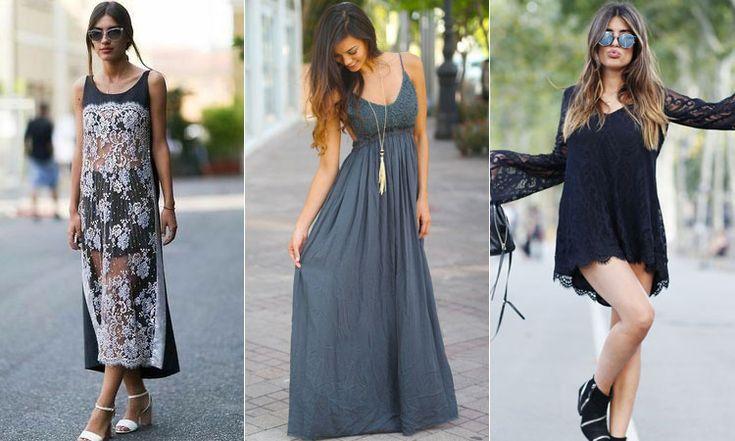 Короткие и длинные черные платья в стиле бохо