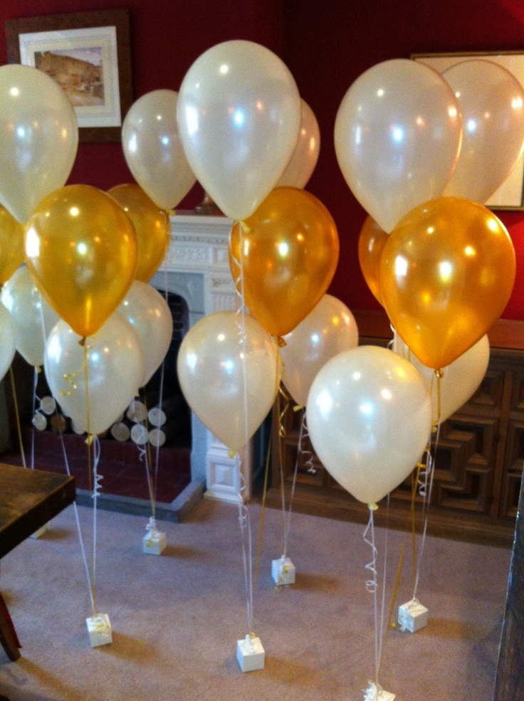 Gold and ivory party balloons
