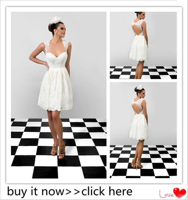 Модные короткие свадебные платья 2015 белые кружева свадебные платья выше колена мини спинки платья невесты Vestido де Noiva курто
