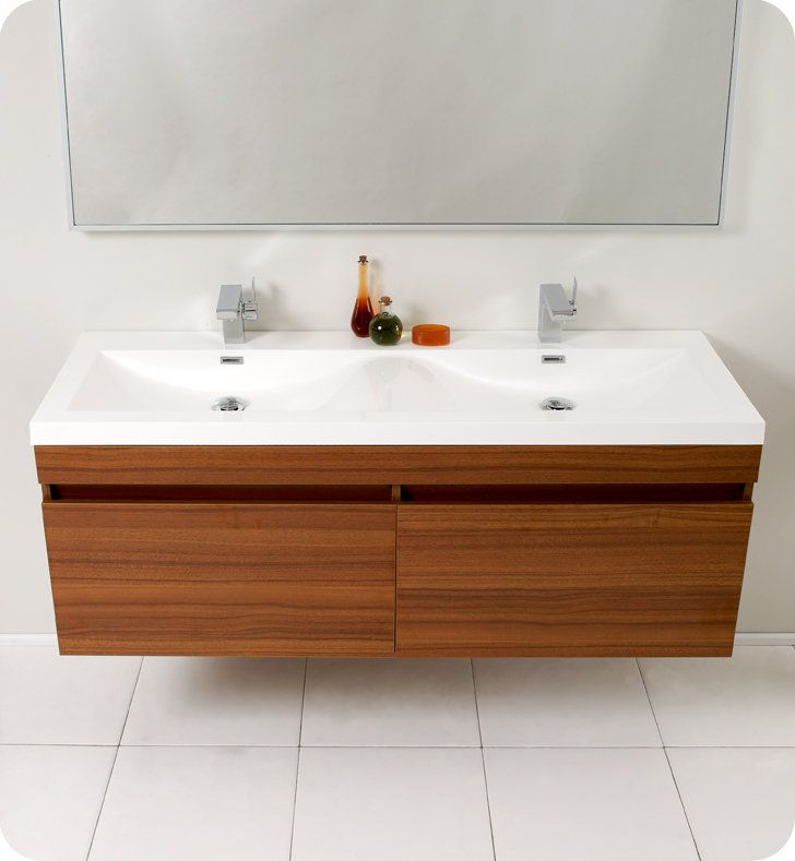 Fresca Teak Largo Wall Mounted Vanity Set With MDF Cabinet, Acrylic Top, 2  Integrated Sinks, 1 Mirror, And 2 Single Hole Faucets