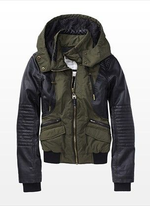 awesome bomber jacket for fall! must have. Leather Moto accents. The best!