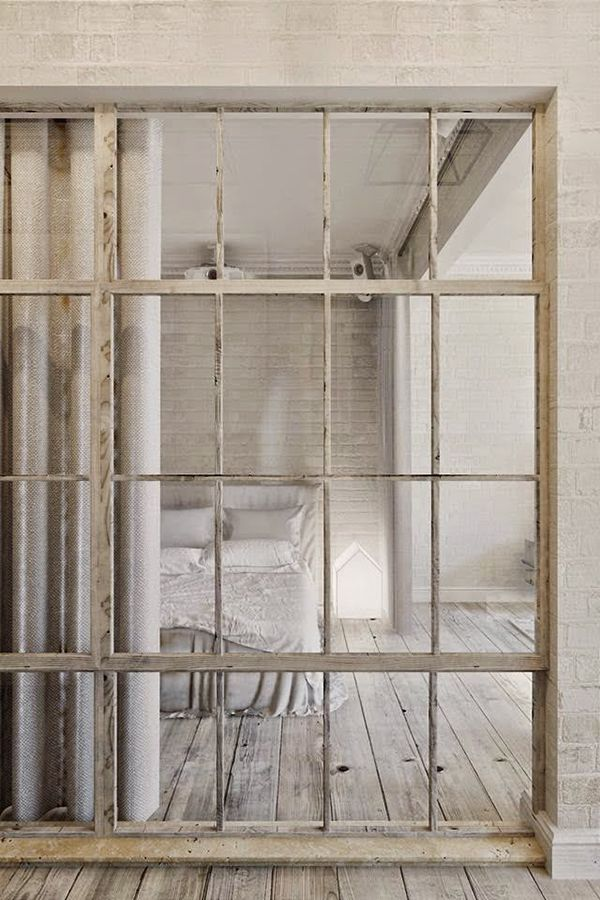 An amazing way of partitioning a space - really works well with the exposed brickwork and rustic flooring.
