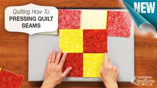 Tips on how to set your quilt seams by pressing with a hot iron. http://www.nationalquilterscircle.com/video/pressing-quilt-seams/?utm_source=pinterest&utm_medium=organic&utm_campaign=A219 #learnmorequiltmore #LetsQuilt
