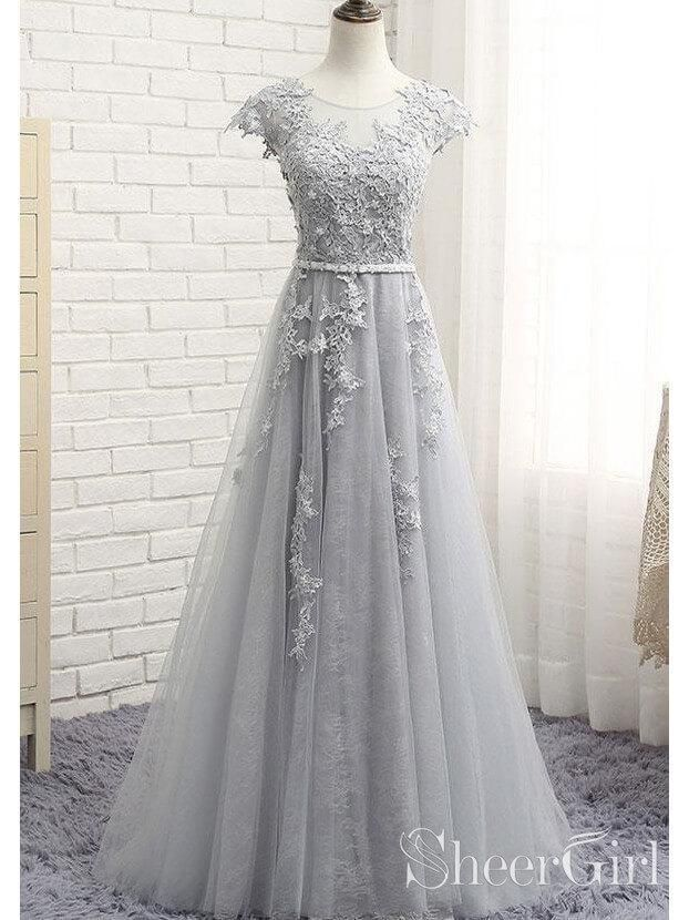 21d7981c11 Cap sleeve silver lace long tulle prom dress. It can be made in other colors