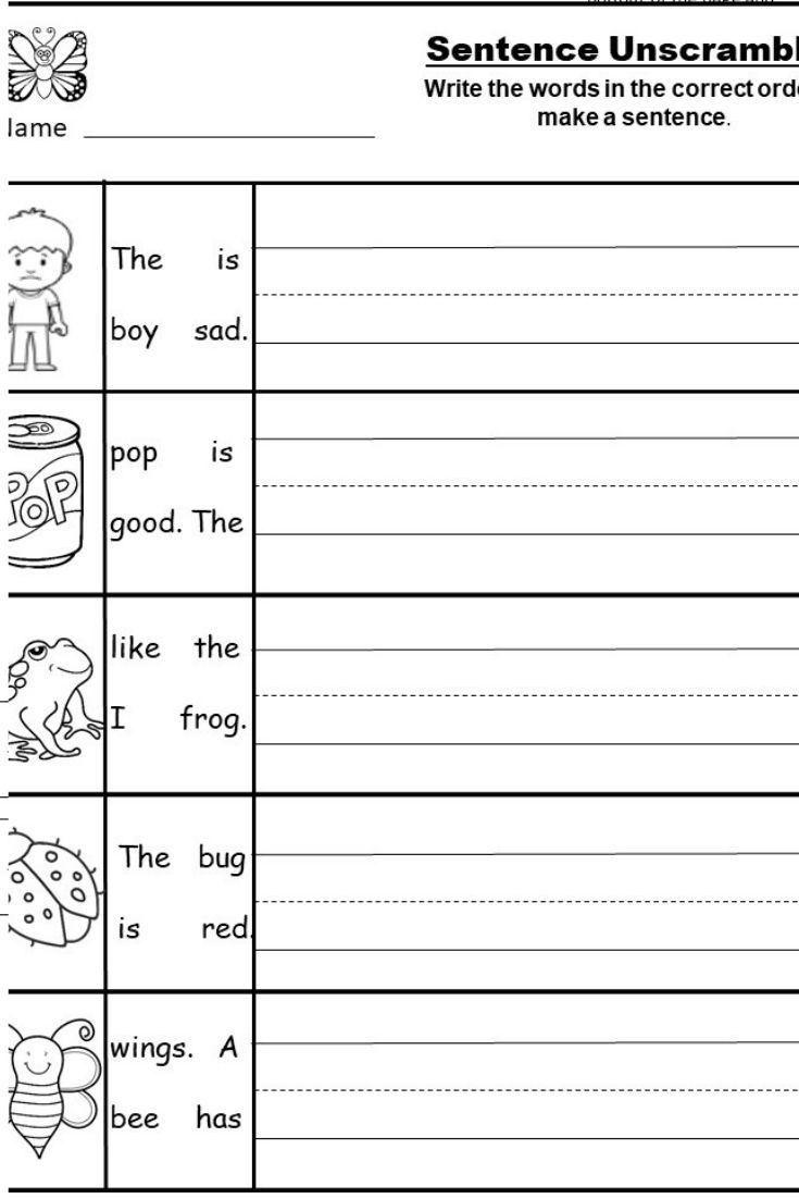 Pin On Kindergarten Worksheet Activities Kindergarten sentence writing worksheets