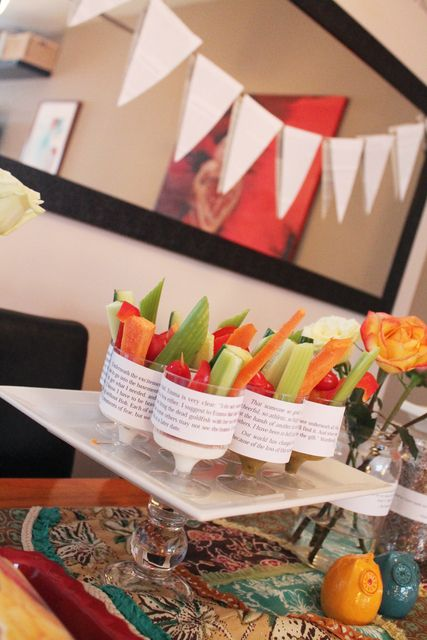 """Veggie cups with book excerpts / Ladies Night """"Book Club"""" 