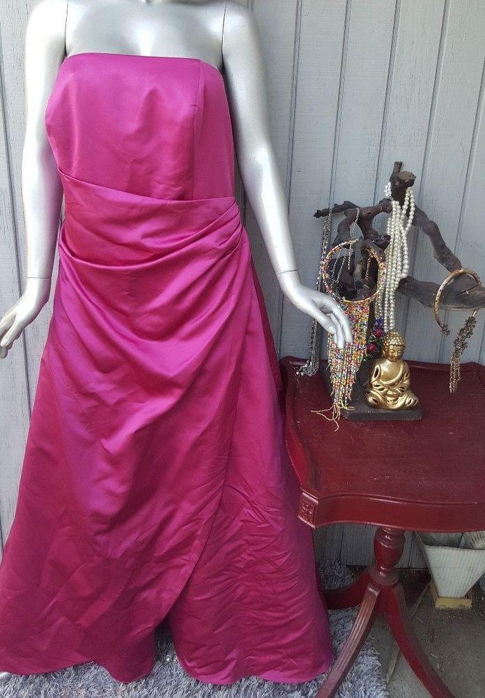 David's Bridal Women's Size 22 Dress Pink Strapless Long Bridesmaid Plus Size