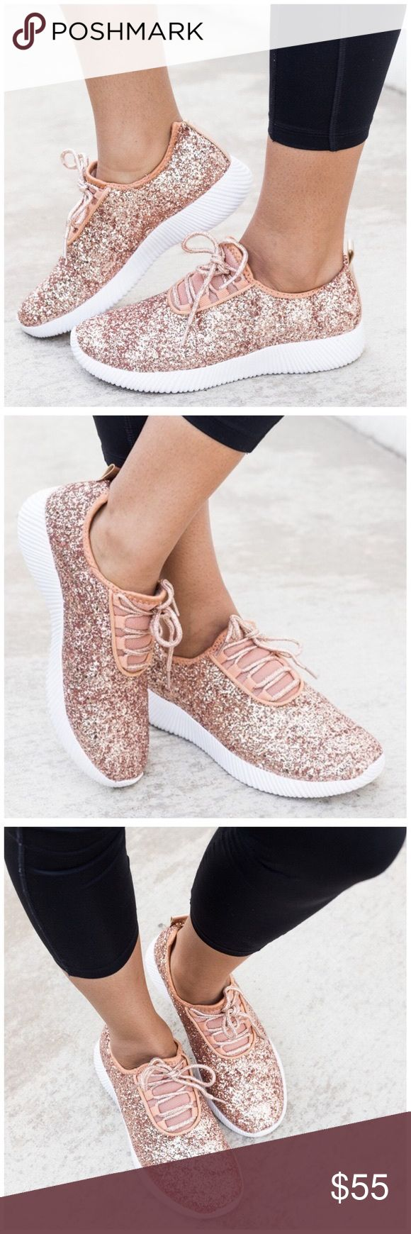 "BEST SELLER* New Rose Gold Glitter Sneakers Glittery sneakers that feature a lace up front, rigged sole, and a cushioned, arched heel. Sole height measures approximately 1.25"". These fit true to size. If you are a half size order a size up.   ✨ Use the ""buy now"" or ""add to bundle"" feature to purchase ✨  PRICE FIRM Shoes Sneakers"