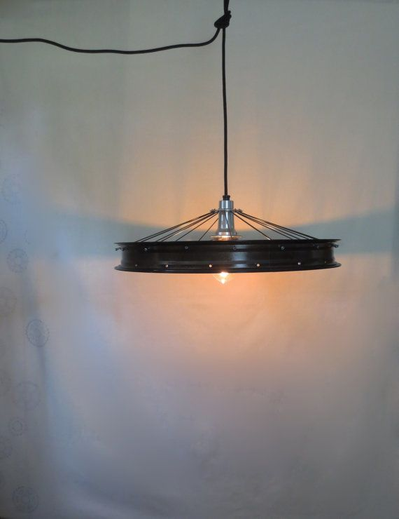 Recycled Fat Tire Bicycle Wheel Rim Ceiling Lamp , Upcycled Home Decor…