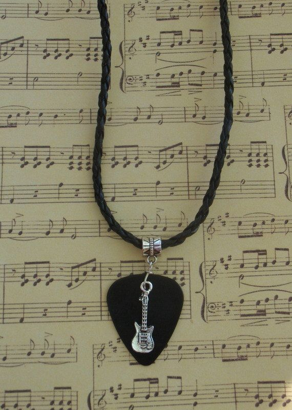 Guitar Pick Necklace, Music Guitar Pick Jewelry, Custom Color Size, Musical Instrument Fiddle Adjustable Chain Braided Leather Look