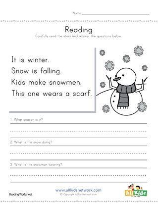 winter reading comprehension worksheet 1st grade hs. Black Bedroom Furniture Sets. Home Design Ideas