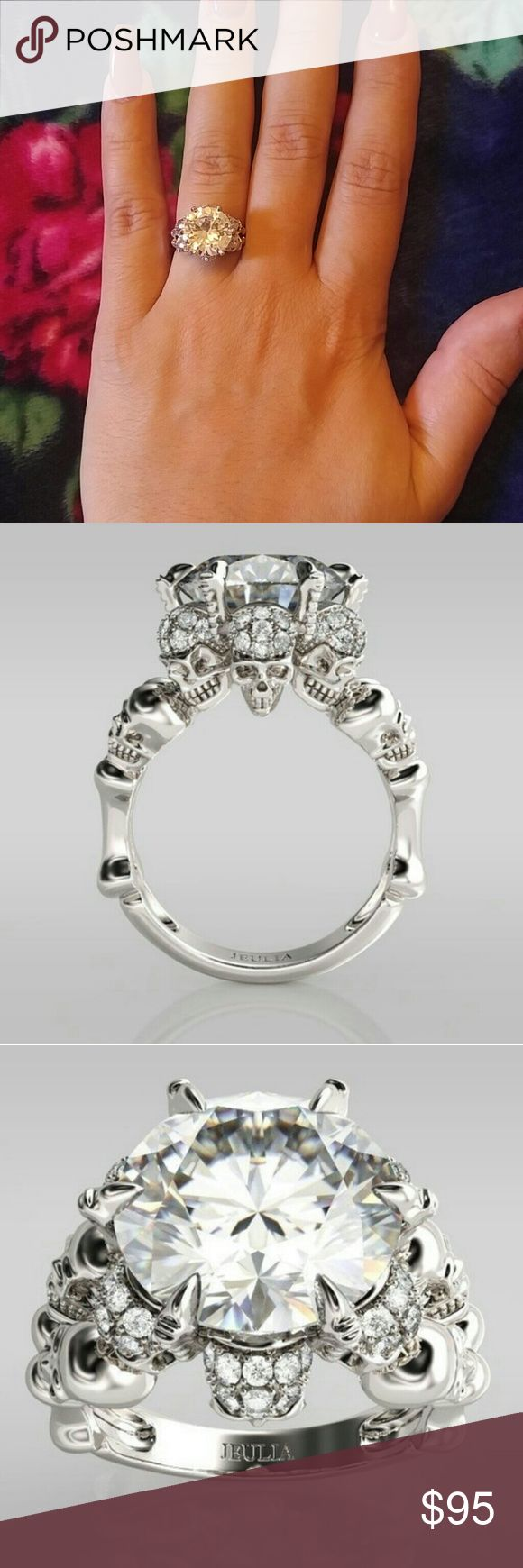 Skull Wedding/Engagement Ring Women's 925 Sterling Silver Six Skull Shape White 5.27CT Sapphire Round Cut Engagement & Wedding Ring Size 6 *New* ***It doesn't have the Jeulia stamped on ring*** Jewelry Rings
