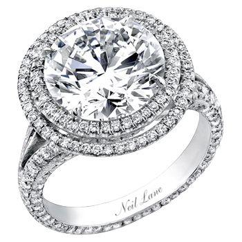 Neil Lane double tiered halo split shank round diamond engagement ring. So Hollywood glam!