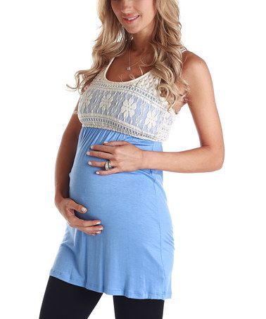 Take a look at this Blue Crocheted Maternity Racerback Tunic by PinkBlush Maternity on #zulily today!