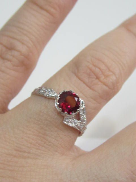 Silver Ruby Ring, Ruby Engagement Ring, Filigree Sapphire Engagement Ringment Ring, Vintage Engagement Ring, Ruby Art Deco Ring