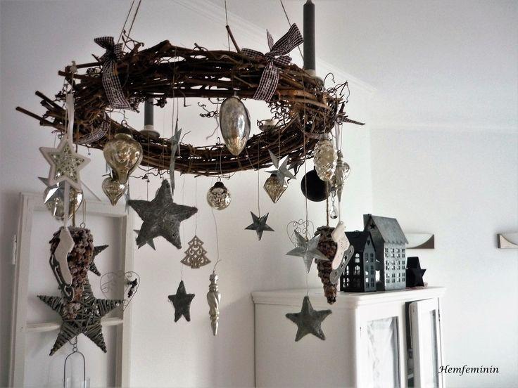 Takkrans - rustikaler weihnachtskranz in natur und silber