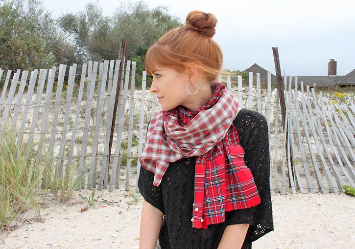 Gina Michele: diy free people checked shirt scarf