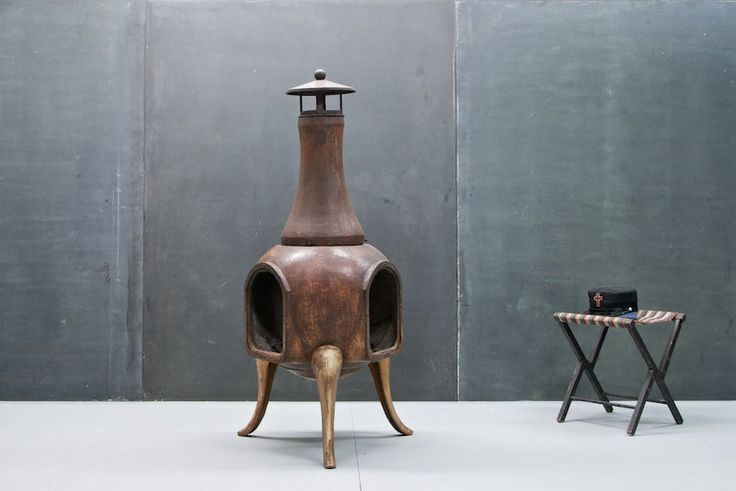 Vintage Cast Iron Chiminea Fireplace : 20th Century Vintage Industrial : Modern Fifty