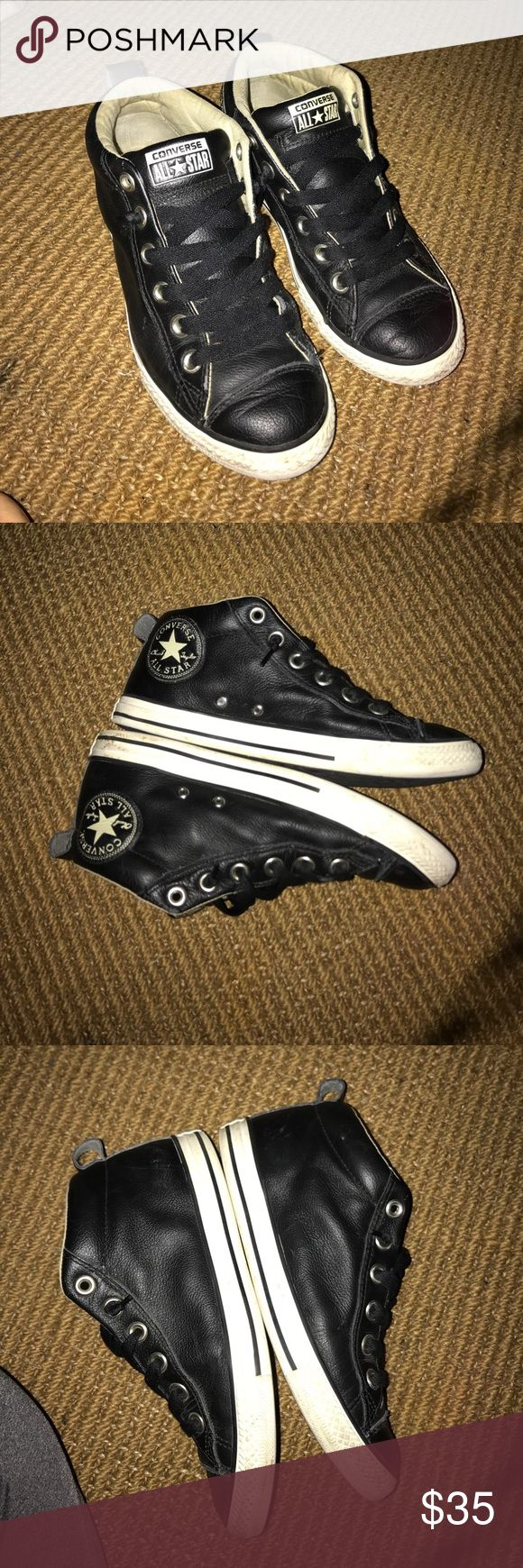 Converse Leather black ankle size 5 Converse black leather ankle tennis shoes. Beautiful I've had these for a while they are in good condition. Converse Shoes Ankle Boots & Booties