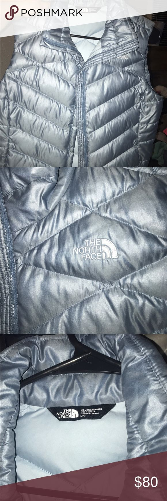 North face vest grey/blue vest, excellent condition North Face Jackets & Coats Vests