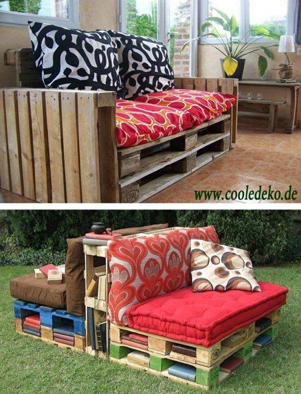 Möbel aus Europaletten rot auflagen