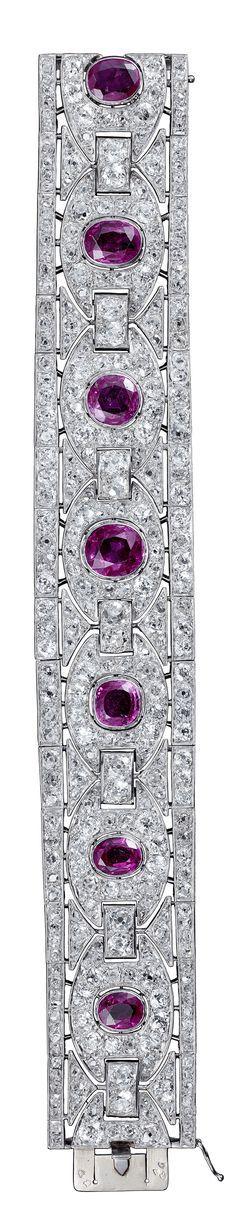 Marcel Chaumet - An Art Deco platinum, ruby and diamond bracelet, 1930-1940. #Chaumet #ArtDeco
