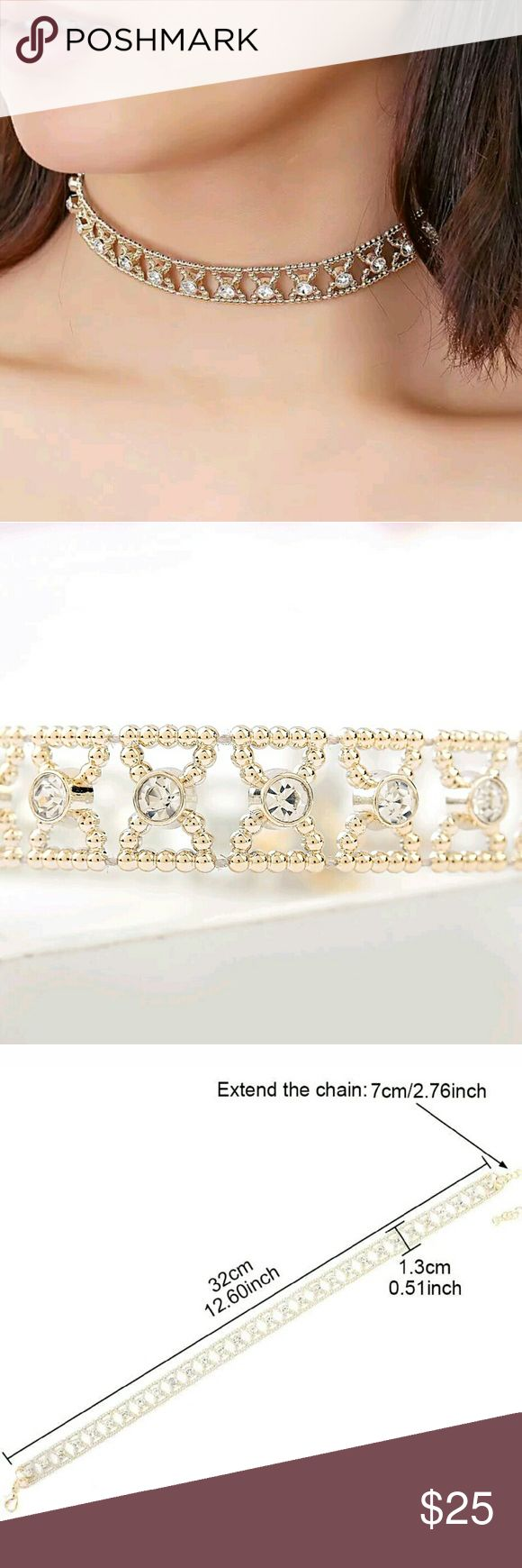 """⭐NEW! Sparkling Iced Kisses Gold Choker It's all about chokers this season! Browse through our boutique to see the many different styles. Bundle & save!   I absolutely love this! Super trendy..  Gold plated alloy  Length: Approx 12""""  New in package   ▪ No Trades  ▪ Fast Shipping Moda Ragazza  Jewelry Necklaces"""