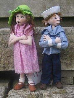 """Jessie & Jack  These charming male and female children can be created from one 11"""" doll body made from either knit or woven fabric. Wired legs and removeable shoes help them stand alone.  Cloth Doll Patterns and Tutorials by  Sharon Mitchell"""