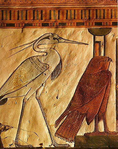 """the Benu-Bird (the Sacred Phoenix) and the Goddess Nephthys represented as a Falcon; from the """"House of Eternity"""" of Queen Nefertari, QV 66, West Diospolis Megale, Thebes"""